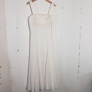 Cream formal maxi dress with lace size 12
